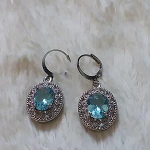 BLUE TOPAZ silver alloy dangly oval earrings
